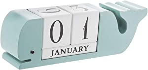 Wood Calendar Block - Blue Whale Shape Wooden Perpetual Desk Block Calendar - 12 x 4 x 3 Inches Home and Office Decor Wood Block Perpetual Month, Date & Day Tile Calendar Desktop Accessories