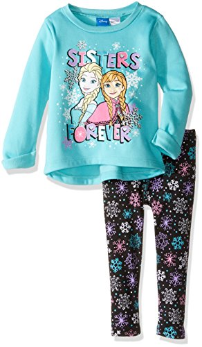 [Disney Little Girls' Toddler Frozen Sisters Legging Set with Fleece Top, Mint, 2T] (Frozen Outfit For Toddlers)