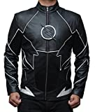 Decrum The Flash Zoom Men's Black Leather Jacket M