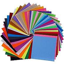 Lictin 45pcs Felt Fabric Sheets, Textile Fabrics DIY Craftwork Felt Crafts, Assorted Color Patchwork Sewing Polyester Felt Sheet for Craft (15 * 15 cm)
