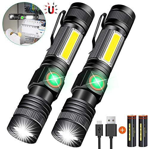 Hoxida USB Rechargeable Flashlight (Battery Included), Magnetic LED Flashlight, Super Bright LED Tactical Flashlight with Cob Sidelight, Waterproof, Zoomable Best Flashlight for Camping, Emergency