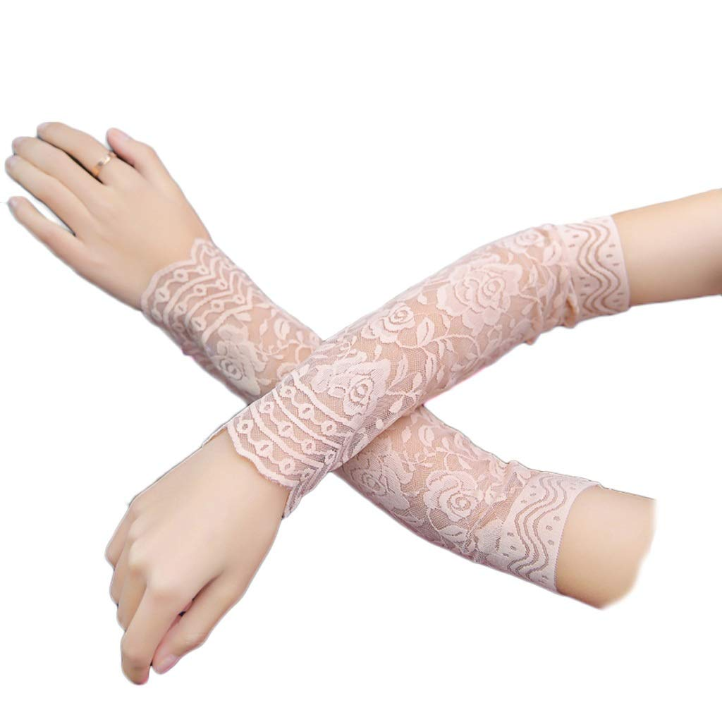 Mjd Sleeve 2PCS 30CM Lace Arm Sleeve Breathable Bracers Lace Pattern Woman Arm Sleeve Clothing Accessories Sunscreen Sleeve (Color : Khaki)