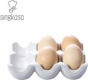 Singkasa Ceramic 6 Cups Egg Tray - Half Dozen Stoneware Porcelain Egg Holder, Kitchen Restaurant Fridge Storage and Cookable Egg Porcelain Decorative Crate White