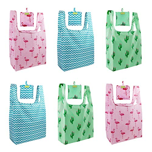 Foldable Reusable Grocery Bags 6 Pack Folding Shopping Tote Bags Fits in Pocket, Eco Friendly Folded Bags Washable Durable Lightweight Sturdy Bags Bulk Xarge Fun holiday green blue pink