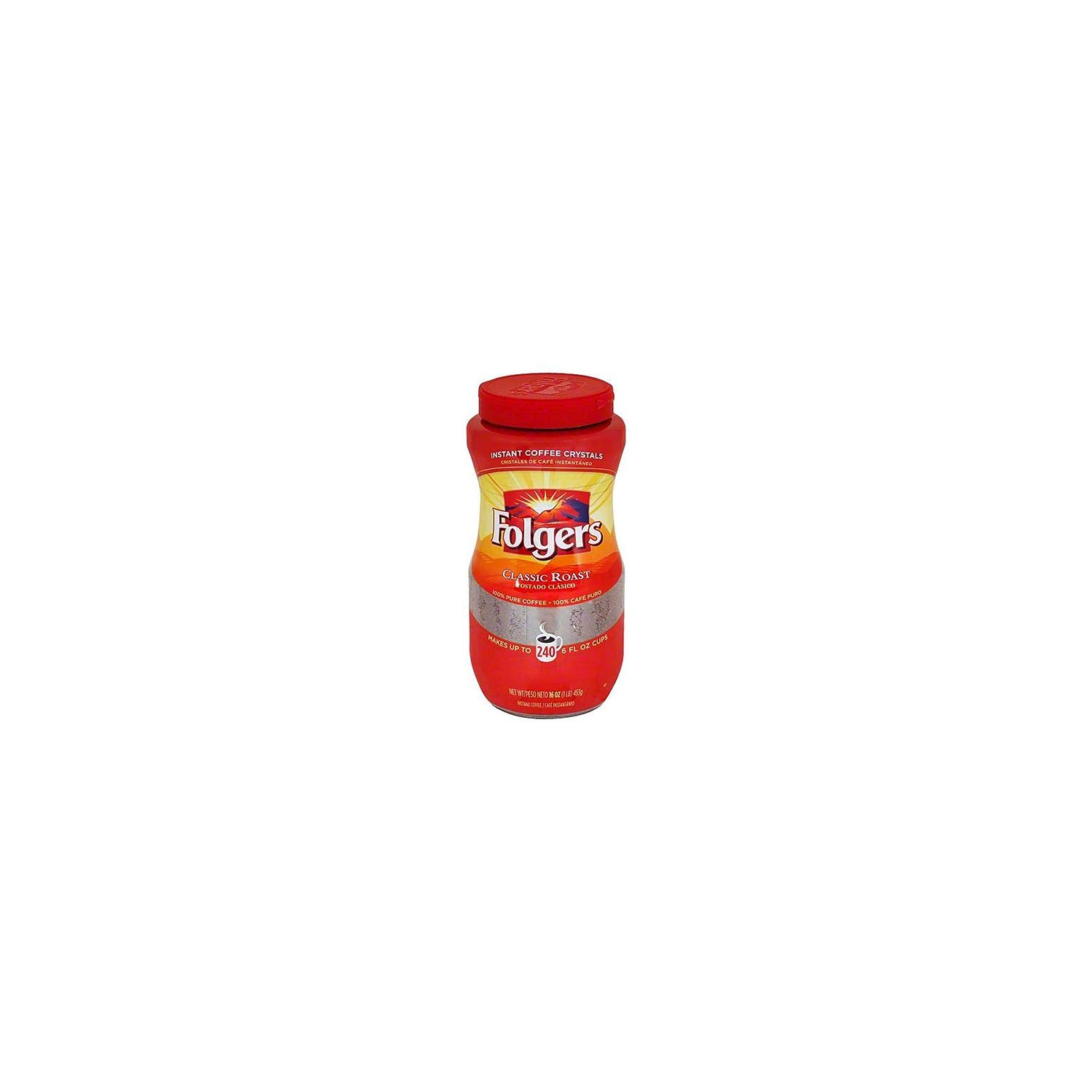 Folgers Classic Roast Instant Coffee, 1LBS (Pack of 2) Ygkclw