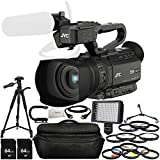 JVC GY-HM200HW House of Worship Streaming Camcorder Bundle Includes 2 64GB SD Memory Cards + 72'' Tripod + Tripod Dolly + Professional 160 LED Light + Professional Video Stabilizing Handle & More!