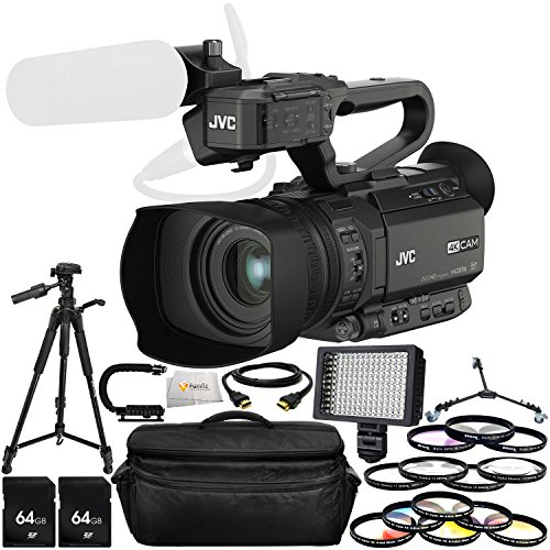 JVC GY-HM200HW House of Worship Streaming Camcorder Bundle Includes 2 64GB SD Memory Cards + 72'' Tripod + Tripod Dolly + Professional 160 LED Light + Professional Video Stabilizing Handle & More! by Fumfie