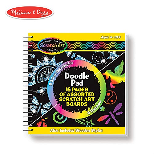 Melissa & Doug Scratch Art Doodle Pad Book (Arts & Crafts, Mini Stylus Included, Easy to Use, 16 Spiral-Bound Pages) ()