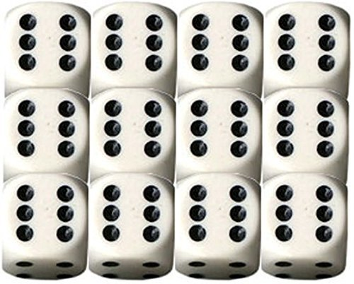 Opaque 16mm d6 White w/Black Dice Block 12 pipped dice (2-Pack)
