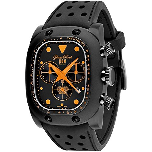 Glam Rock Women's GR70106 Gulfstream Chronograph Black Dial Black Silicone Watch