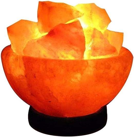 Yughb Lamparitas de Noche Sal Fuego Tazón lámpara Hecha de Himalaya Natural del Cristal de Sal de Roca Premium y Calidad Fina: Amazon.es: Hogar
