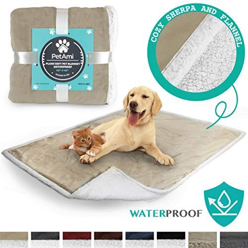 - PetAmi Waterproof Dog Blanket for Couch, Sofa | Waterproof Sherpa Pet Blanket for Large Dogs, Puppies | Super Soft Washable Microfiber Fleece | Reversible Design | 50 x 40 (Taupe)