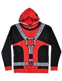 Marvel Universe Deadpool Costume Men's Full Zip Mask Hoodie (Large)