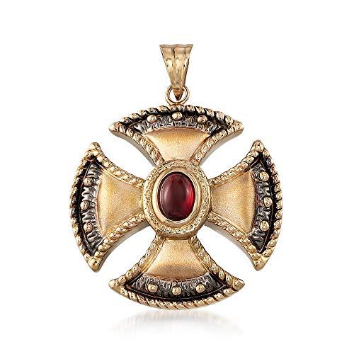Ross-Simons 1.30 Carat Garnet Cross Pendant in 14kt Yellow Gold