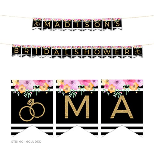 Andaz Press Floral Gold Glitter Print Wedding Collection, Personalized Hanging Pennant Party Banner with String, Madison's Bridal Shower, 8-Feet, 1 Set, Custom Made