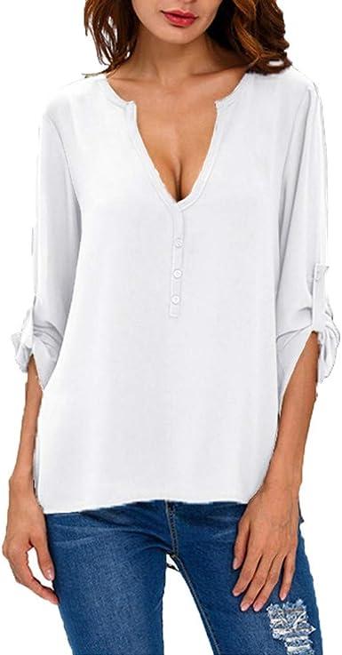 Blusas Mujer Manga Larga Camiseta Deporte Mujer Pullover Cuello en V Color Puro Camisas Mujer Invierno: Amazon.es: Ropa y accesorios