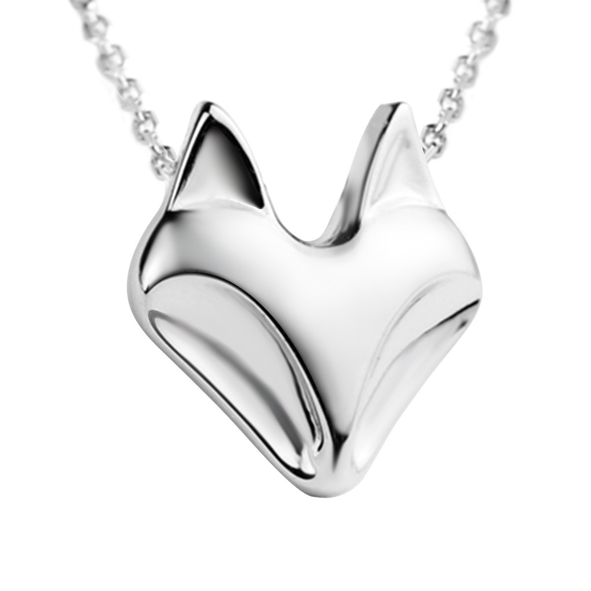 JEWME Fine Jewelry 925 Sterling Silver Women Fox Pendant Necklace High Polished