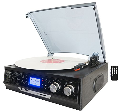 Boytone BT-17DJS 3-Speed Stereo Turntable, Including with 2 Extra Ceramic Needles, Belt Drive, 2 Built in Speakers