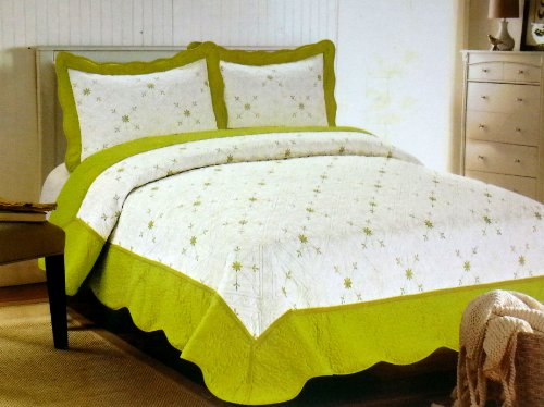 Versailles Micro Fiber Quilt Set w/ 100% Cotton Fill - Twin, Yellow - Versailles Quilt