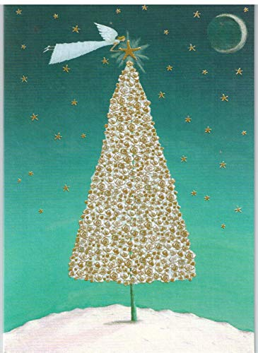 Roger la Borde Angel and Gold Rose Tree Boxed Christmas Cards Box of 8 -