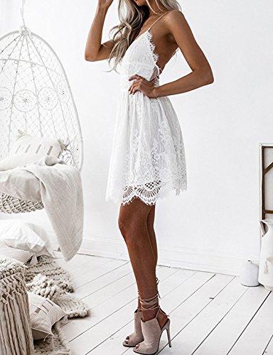 V Bretelle Dos Femme sans Robes Blanc Robes Dentelle Nu Sexy de t Soire de Court Party Plage JackenLOVE Manche Col Robe Cocktail Mini TOwfxnaqE