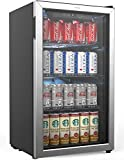 hOmeLabs Beverage Refrigerator and Cooler - Mini Fridge with Glass Door for Soda Beer or Wine - 120 Cans Capacity - Small Drink Dispenser Machine for Office or Bar with Adjustable Removable Shelves
