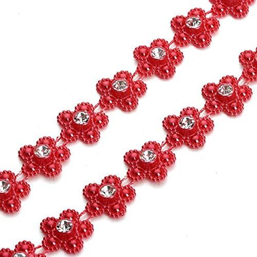 Calvas 2 Yard/roll 14mm Flower Flat Back Colored String Pearl Beads Chain for Wedding Party Decoration DIY Jewelry Making Findings - (Color: red Pearl Beads)