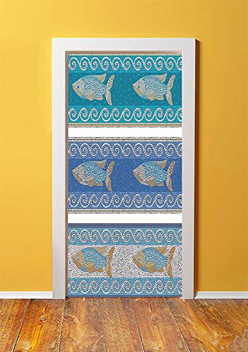 Mosaic Decor 3D Door Sticker Wall Decals Mural Wallpaper,Ancient Style Byzantine Ceramics Inspired Marine Fractal Fish Pattern Artwork,DIY Art Home Decor Poster Decoration 30.3x78.2607,Slate Blue