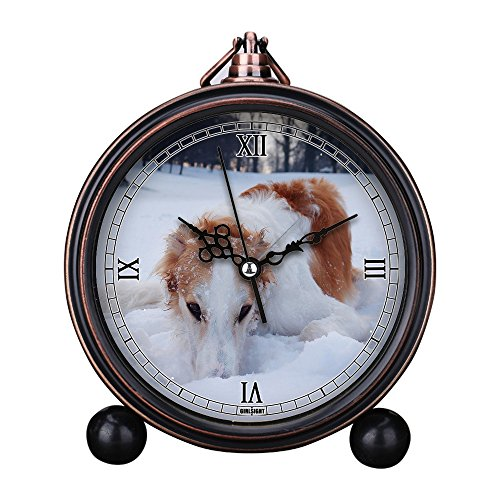 Borzoi Clock - Vintage Retro Living Room Decorative Non-ticking, HD Glass Lens, Quartz, Analog Large Numerals Bedside Table Desk Alarm Clock Cute Cat Dog Series -323. Dog, Borzoi, Hound, Winter, Snow