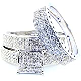 1cttw Diamond His and Her Rings Set 10k White Gold Square Top 3 Piece Set(i2/i3 Clarity, I/j Color)