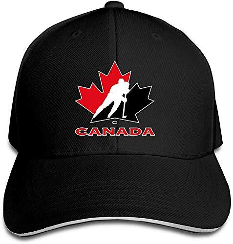 (Hittings TopSeller Unisex Canada National Ice Hockey Team Logo Adjustable Peaked Baseball Caps Hats Black)