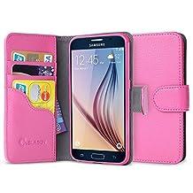 Galaxy S6 Case, [Wallet Case] i-Blason **KickStand** Samsung Galaxy S6 Case [Kickstand] Leather Cover with Credit Card ID Holders (Pink)