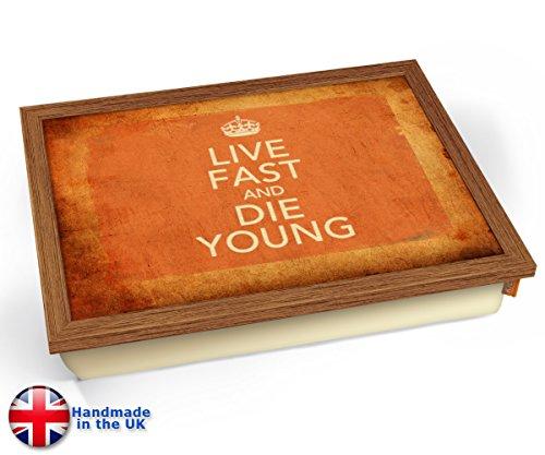 Keep Calm Vintage Live Fast Cushion TV Lap Tray - Wood Effect Frame by KICO