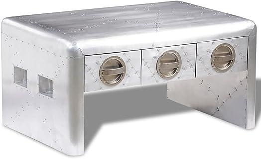 vidaXL Aluminum Aviator Coffee Side Bedside Storage Table Nightstand 3 Drawer