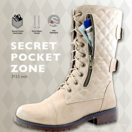 PU Exclusive Mid High Card Pocket Knee Credit Quilted PU White Up Ivory Women's Combat Military Buckle Boots HUqypaw