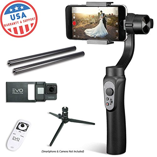 Axis Video Adapter - EVO SHIFT 3 Axis Handheld Gimbal for iPhone & Android Smartphones | Black | 1 Year US Warranty | Bundle Includes: Shift + GoPro Adapter Plate + Tripod + Wireless Remote + CF Pole Set