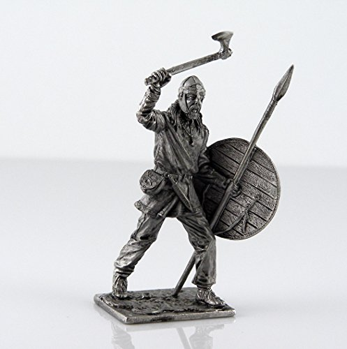 Soldier Miniature (Viking with spear and axe, 9-10 century metal sculpture. Collection 54mm (scale 1/32) miniature figurine. Tin toy soldiers)