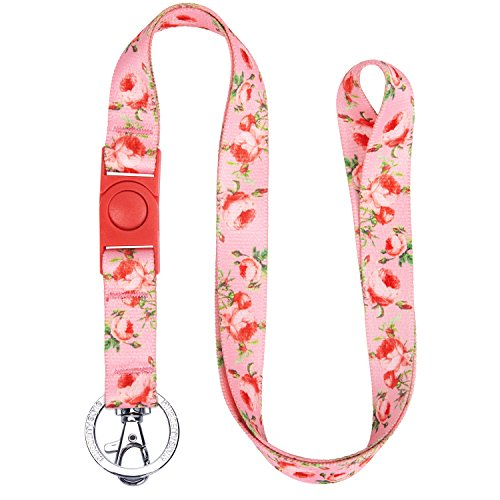 Blueberry Pet Spring Scent Inspired Floral Rose Baby Pink Women Fashion Non Breakaway Lanyard Keychain for Keys/ID Card/Badge Holder, 3/4