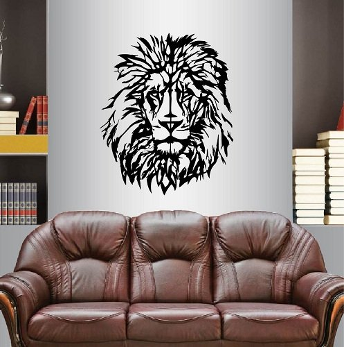 In-Style Decals Wall Vinyl Decal Home Decor Art Sticker Lion Head Wild Animal Cat Predator Kids Bedroom Living Room Removable Stylish Mural Unique Design