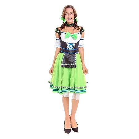 QQWE Vestido de Dirndl alemán para Mujer, Vestido de Traje ...
