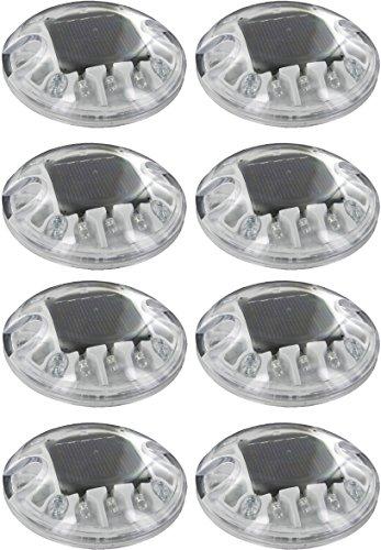 - (8 Pack) Solar White LED Round Polycarbonate Road Stud Deck Dock Path Light