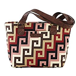 Bella Taylor Ambrose Cotton Mini Tote with Slip Zip Pockets and Shoulder Straps Greek Key Scroll Design H 8 Base: W 10 x D 5 Inches