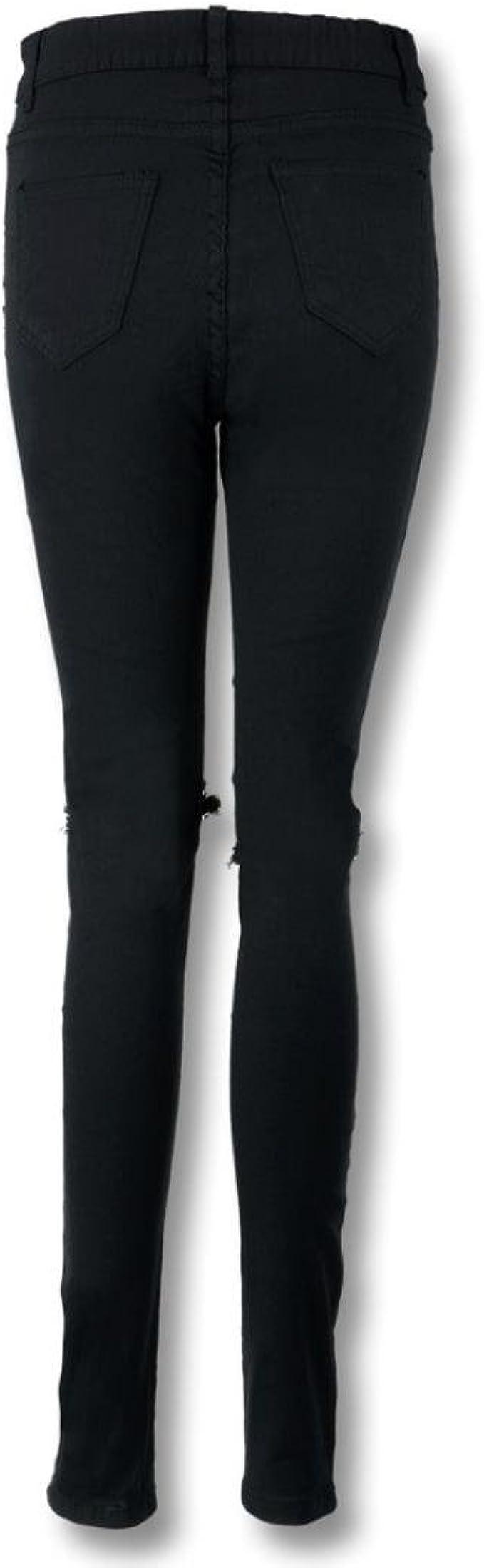 Amlaiworld Donne Cool Ginocchio strappato Taglio Skinny Jeans Lunghi