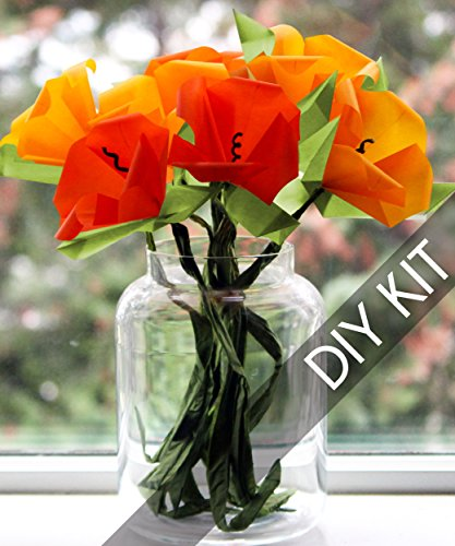 Origami DIY Kit - Make your own California Poppies Origami Flower Bouquet - Origami Paper Supplies - Paper Flower Kits - Craft Art Project