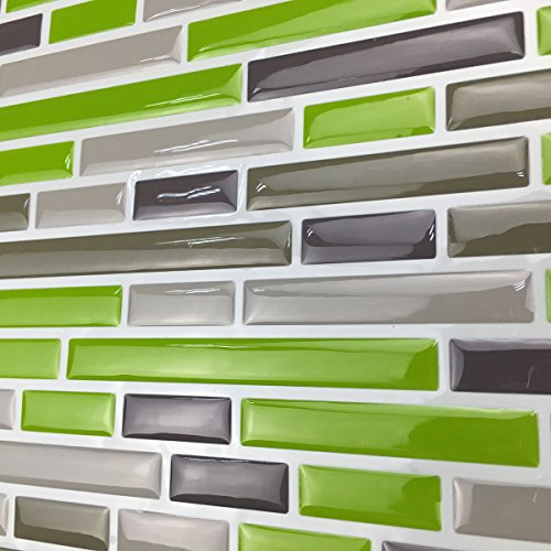 Art3d Kitchen Backsplash Peel & Stick Tile, Smart Brick, Gre