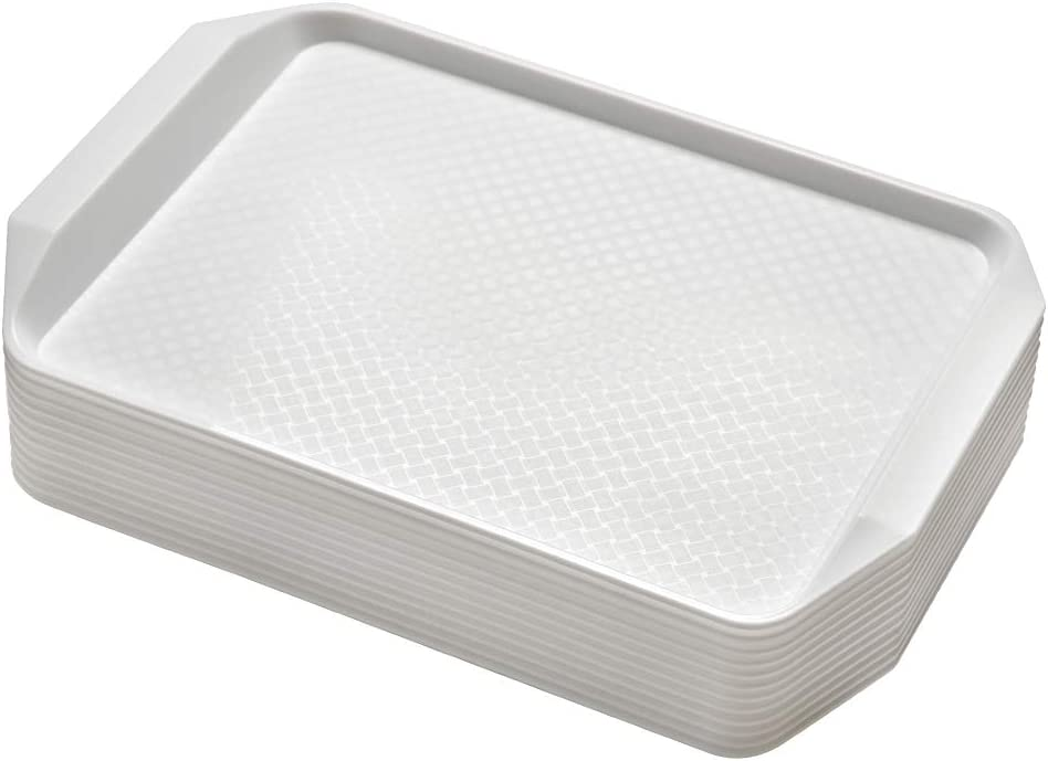 Aebeky 12-Piece White Plastic Fast Food Serving Trays,16.83 by 11.92-Inch