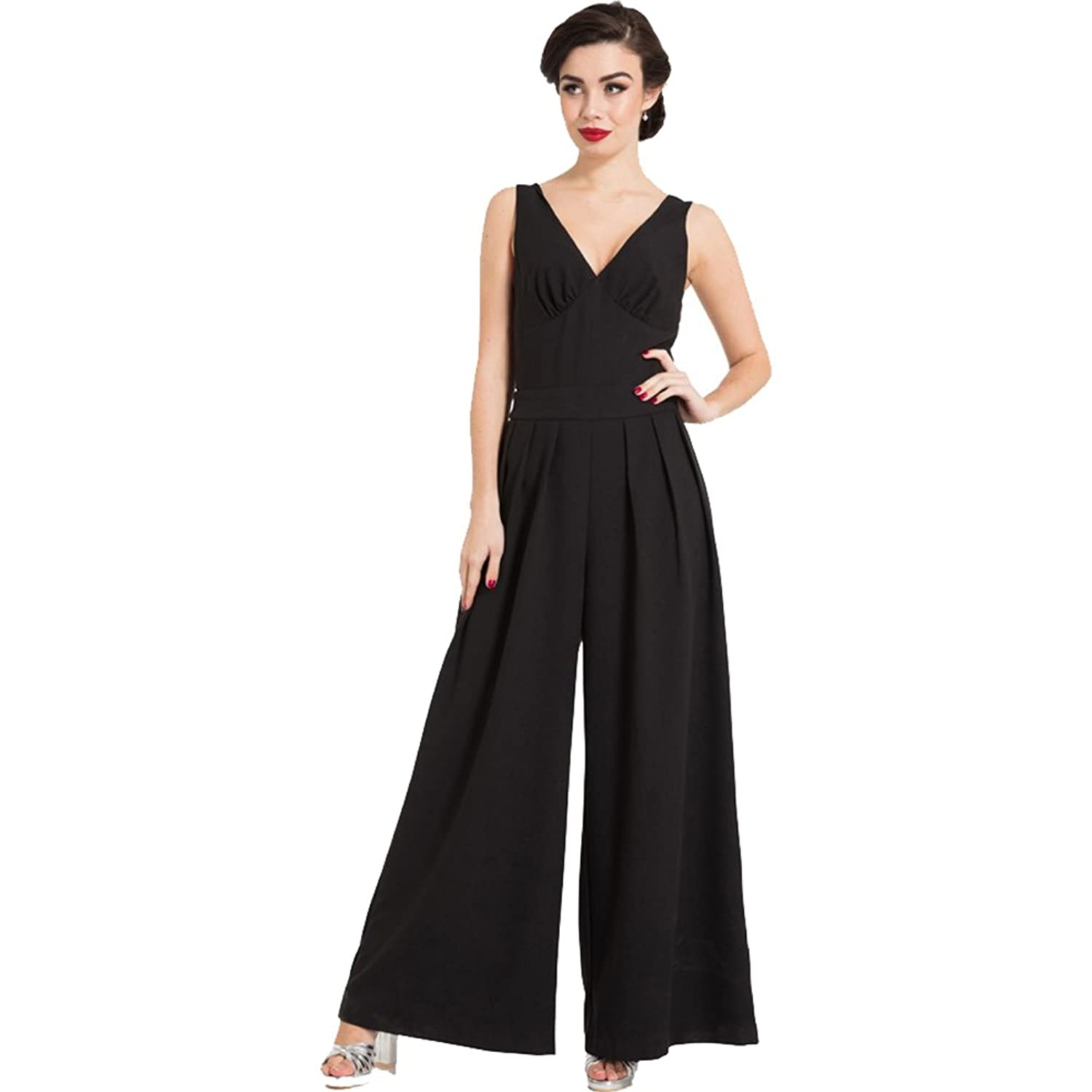 Vintage High Waisted Trousers, Sailor Pants, Jeans Voodoo Vixen Womens Farah Flared Jumpsuit Black $77.99 AT vintagedancer.com