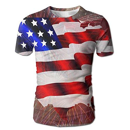 American Flag Map Men's Short Sleeve T-Shirt Full Print Cool Tees - Shopping Map French Quarter