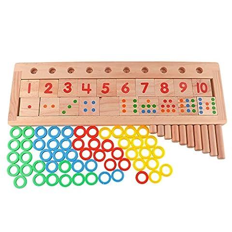 HittecH Educational Colourful Teaching Tool Math Number Wood Board Educational Preschool Toy For (Christian Light Education Math 2)