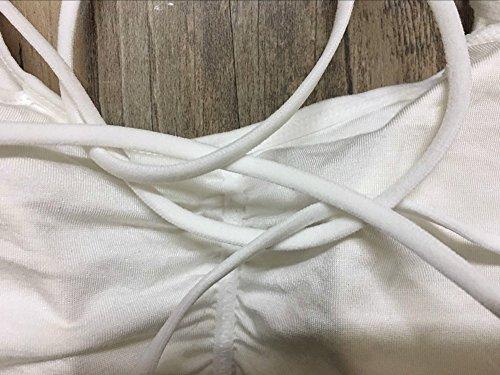 Mujeres Sujetador Crop Tops Correa Chaleco Cut Out Camiseta Playa Tank Un tamaño Blanco + Fijo + Con almohadillas de pecho Blanco + No fijo + Con almohadillas de pecho